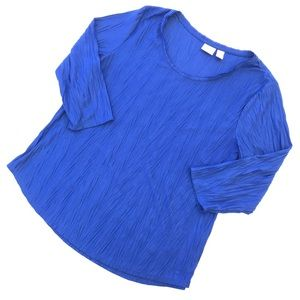 Chico's Blue Riffled 3/4 Sleeve Women's Top Size L